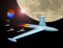 Dżetowy rakietowy flota konwój w astronautyczną opuszcza płonącą ziemię zdjęcia royalty free