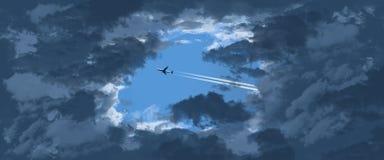 Dżetowy samolot zobaczy przez otwarcia w ciemnienie chmurach gdy ono lata przez niebieskie niebo inaczej fotografia royalty free