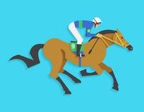 Dżokej jedzie biegowego konia liczba 9, Wektorowa ilustracja Zdjęcia Royalty Free