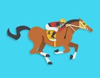 Dżokej jedzie biegowego konia liczba 4, Wektorowa ilustracja Zdjęcie Royalty Free