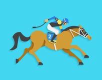 Dżokej jedzie biegowego konia liczba 2, Wektorowa ilustracja Obraz Royalty Free