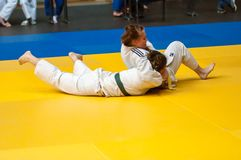 Dżudo rywalizacje wśród dziewczyn, Orenburg, Rosja Zdjęcie Royalty Free