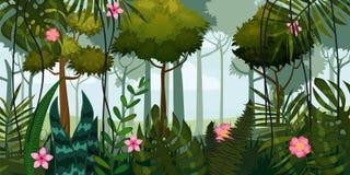 Dżungla kwiaty i las Drzewa, liście, kwiaty, paralaksa Szablon dla wideo i sieci projekta, apps, gry online royalty ilustracja