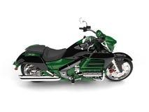 Dżungla zielony nowożytny potężny motocykl - wierzchołka puszka boczny widok Fotografia Royalty Free