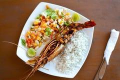 Dżungli krewetka z ryż na talerzu obrazy royalty free