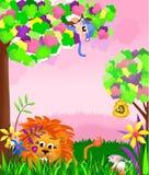 Dżungli zwierzęcia scena Ilustracja Wektor