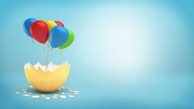 3d一个大金黄蛋壳的翻译崩裂显露捆绑在丝带的五颜六色的气球 免版税库存图片