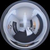 3d一个家庭办公室的例证空间样式的 库存图片