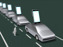 3D一个巧妙的电话的例证集成了与汽车 皇族释放例证