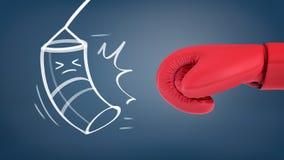 3d一个巨型红色拳击手套的翻译在一个重的袋子的粉笔画的附近与避免被击中的被紧压的眼睛的 库存例证