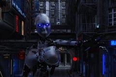 3D一个未来派都市场面的例证与靠机械装置维持生命的人的 皇族释放例证