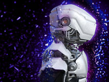 3D一个未来派机器人头的翻译 库存照片