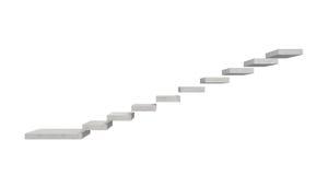 3d一个灰色石楼梯的翻译垂悬在天空中的由分开的具体块做成在白色背景 免版税库存照片