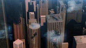 3d一个被毁坏的城市的动画 库存例证