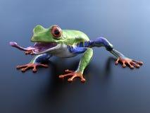 3D一只现实红眼睛的雨蛙的翻译与它的舌头o的 免版税库存图片