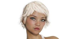3D一张挥动的女性面孔的动画 皇族释放例证