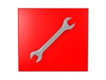 3D一把发光的板钳的例证在红色背景的 免版税库存照片