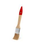 3d一支新的木画笔的翻译与在白色背景隔绝的红色把柄的 免版税库存照片