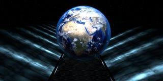 3d一条未来派路的翻译有地球球形的 免版税库存图片