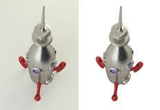 3D一枚可笑的样式火箭的翻译 库存照片