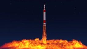 3D一枚洲际弹道导弹的例证 库存照片