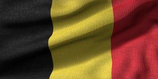 3d一面比利时旗子的翻译与织品纹理的 库存例证