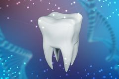 3d一颗人的牙的例证在蓝色抽象背景的 技术的概念在牙科方面 库存照片