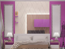 3D一间卧室的例证女孩的 库存照片