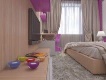 3D一间卧室的例证女孩的 免版税图库摄影