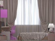3D一间卧室的例证女孩的 免版税库存照片