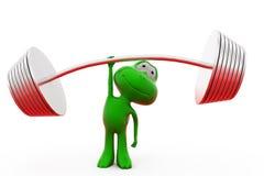3d与一个手概念的青蛙杠铃 免版税库存照片
