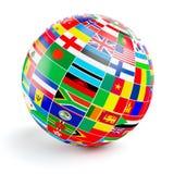 3d与世界的旗子的地球球形在白色的 库存例证