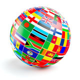3d与世界的旗子的地球球形在白色的 库存照片