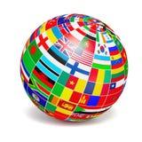 D与世界的旗子的地球球形在白色的 库存例证