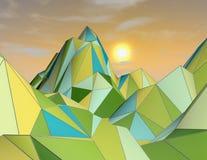 3d与云彩和几何山的抽象未来派风景 免版税库存照片