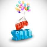 3D与五颜六色的泡影的大销售 免版税图库摄影