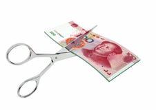 3D与剪刀的中国货币 向量例证
