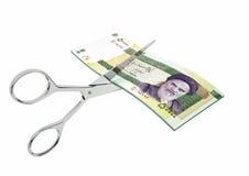 3D与剪刀的伊朗货币 库存例证