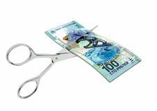 3D与剪刀的俄国货币 库存例证