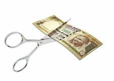 3D与剪刀的印地安货币 向量例证