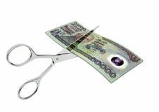 3D与剪刀的印度尼西亚货币 库存例证