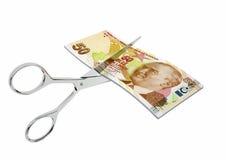 3D与剪刀的土耳其货币 皇族释放例证