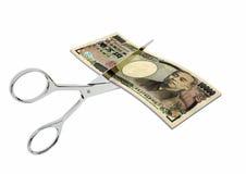 3D与剪刀的日本货币 皇族释放例证