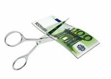 3D与剪刀的欧洲货币 向量例证