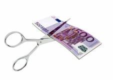 3D与剪刀的欧洲货币 库存例证
