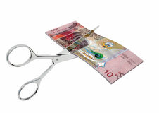 3D与剪刀的科威特货币 库存例证