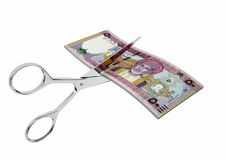 3D与剪刀的阿曼货币 库存例证