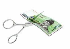 3D与剪刀的韩国货币 向量例证