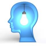 3d与发光的电灯泡的头形状 免版税库存照片
