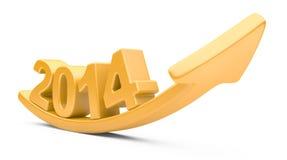 3D与向上年2014年成长的箭头 免版税库存照片